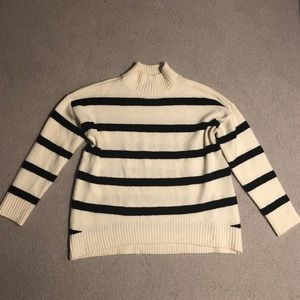 White and Black Striped Mock Turtleneck Sweater